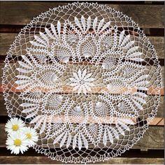 Pineapple Crochet Doily White Crocheted Doilies Table Decoration Large Crochet Doily Round Crochet Lace Doilies Christmas Decor Grandma gift
