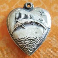 Vintage 1940's MARLIN SAILFISH PUFFY HEART sterling silver charm ~ VESTA from A Genuine Find