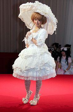 Misako Aoki At BTSSB Tea Party wearing a shiro hime lolita coordinate.