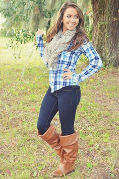 Play It Up In Plaid Top: Blue/White