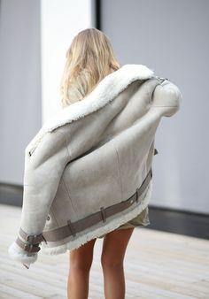 Dream coat: grey shearling coat