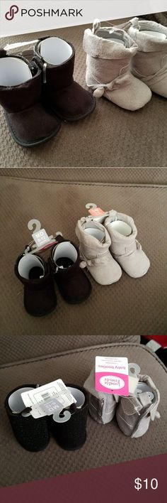Baby Boots Brand new, never worn. Black pair is 6-12months, grey pair is 0-6months. Shoes Boots