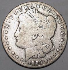 1893 $1 Morgan Silver Dollar-Very Good-Free USA Ship-VG-Tough Date