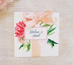 Zaproszenia ślubne z peoniami, kwiat Peonii plus koperta