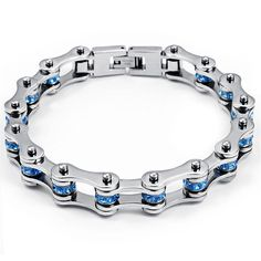 OAKKY Women's European Style Stainless Steel Blue Zircon Bicycle Chain Bracelet *** Read more reviews of the product by visiting the link on the image. (This is an affiliate link and I receive a commission for the sales)