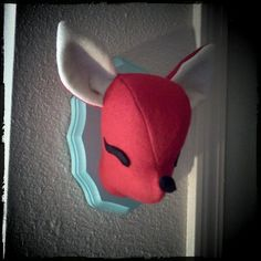 Mounted Felt Plush Deer Head  Red and Light by PocketswithPosies, $27.00  Dear future child, this is happening!