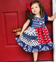 US Independence Day Dress for Little Girls The Star-Spangled Banner Clothes Red Skirts Sundress