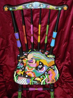 Painted mermaid chair by Marie Lloyd Whimsical Painted Furniture, Hand Painted Chairs, Painted Stools, Hand Painted Furniture, Funky Furniture, Refurbished Furniture, Recycled Furniture, Art Furniture, Colorful Furniture