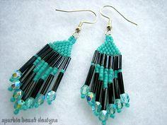 Black and Turquoise Earrings by Natalie526.deviantart.com on @deviantART