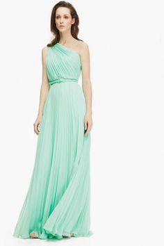 Maxi vestido plisé de gasa con vuelo - Vestidos | Adolfo Dominguez shop online