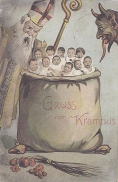 The plot thickens, Krampus is in cahoots with St. Nicholas. | 21 Vintage Postcards Of Krampus That Will Haunt Your Dreams