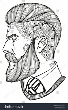 Find Man Beard Tattoo stock images in HD and millions of other royalty-free stock photos, illustrations and vectors in the Shutterstock collection. Cool Drawings, Tattoo Drawings, Bart Tattoo, Kopf Tattoo, Beard Art, Man Beard, Man With Beard, Hipster Man, Hipster Beard