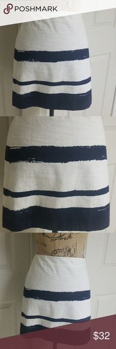 J. Crew Skirt Excellent condition   Baby blue and white striped skirt  100% cotton J. Crew Skirts