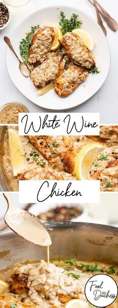 Boneless skinless chicken breasts gets a major revamping in this recipe. The chicken is marinated, then seared in a pan. A pan sauce is then made using all the delicious brown bits, onions, cream, and white wine. Pan Sauce For Chicken, Chicken White Wine Sauce, Pan Seared Chicken, Cooking With White Wine, Cooking Wine, Chicken Thights Recipes, Chicken Recipes, Skinless Chicken Recipe, Vinegar Chicken