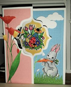 """Unity's Itty Bitty's """"Pretty Easter Find"""" and """"Hunny Bunny"""", Sizzix Card Flip Die, Memory Box Flowers and Clouds die, My Favorite Things Grass Border."""