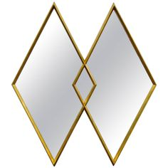 Interlocking Diamond Gold Leaf Deep Frame Wall Mirror Attributed to Labarge | See more antique and modern Wall Mirrors at http://www.1stdibs.com/furniture/mirrors/wall-mirrors
