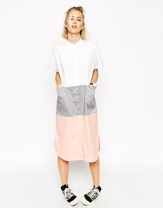 ASOS WHITE Block Midi Shirt Dress