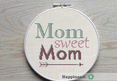 modern cross stitch pattern mom sweet mom cross by Happinesst