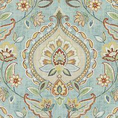 Fabric -  Aquamarine Floral Vine Damask Fabric Pattern