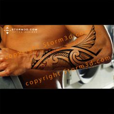 Maoristyle forearm tattoo with orange color details