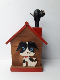 Vintage Dog House Coin Bank - Wooden Piggy Bank Doghouse with Puppy that slides up and down when you push cat on roof - Made in Japan 1940s