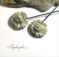 Handmade lampwork glass rustic ammonite head pins by Annelibeads - Annelis pärlor