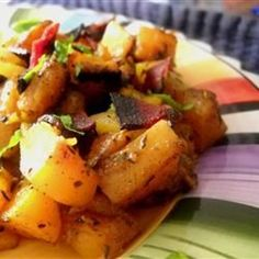 "Mango-Bacon Butternut Squash Hash - ""A Paleo-friendly hash is made from a mixture of bacon, butternut squash, and mango. Paleo Side Dishes, Veggie Dishes, Food Dishes, Cookbook Recipes, Paleo Recipes, Cooking Recipes, Paleo Meals, Butternut Squash Hash, Hash Recipe"