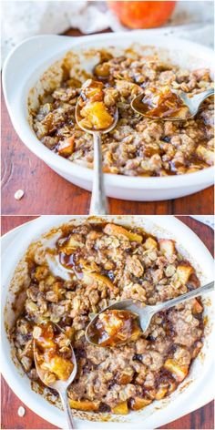 5-Minute Microwave Apple Cinnamon Crumble For One (vegan, gluten-free) - Warm, hearty, healthy & fast! Makes a great breakfast or snack.