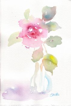 faded rose | quick watercolor warmup sketch by Janis McElmurry