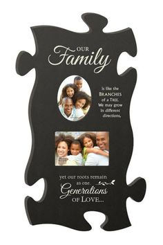 """This 12"""" x 24"""" frame with space for 2, 4"""" x 6"""" pictures has a black background and Family sayings. This piece is made to interlock with other """"puzzle"""" pieces to cover a larger area on the wall or it can be used alone.    Puzzle Picture Frame by P. Graham DUNN. Home & Gifts - Home Decor - Frames Nebraska"""