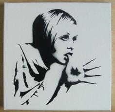 TWIGGY Stencil Graffiti on canvas 60s mod pop art by domdoodle, $20.00