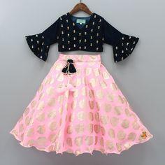 Pre Order: Teal Blue Velvet Choli And Pink Lehenga Choli Designs, Lehenga Designs, Kids Blouse Designs, Kids Party Wear Dresses, Kids Dress Wear, Kids Gown, Dresses Kids Girl, Kids Party Wear Frocks, Girls Dresses Sewing