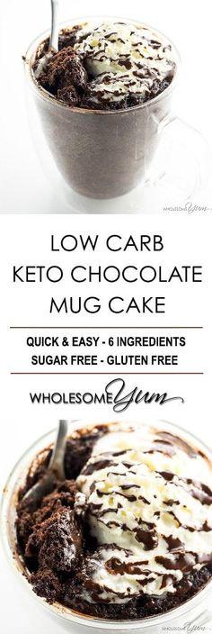 Low Carb Paleo Keto Chocolate Mug Cake Recipe - 6 Ingredients - Low carb keto chocolate mug cake is ready in just 2 minutes, using 6 ingredients! This recipe makes an easy paleo chocolate cake in a mug, too.