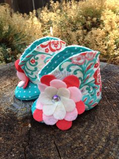 Baby Girl Boots with Turquoise and Melon Flowers by AveryleeKids, $25.00