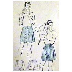 1930s - 1940s Men's Vintage Underwear Sewing Pattern Waist 34 Boxers
