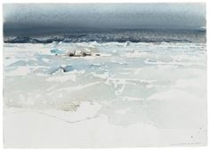 Lars Lerin (Swedish, b. 1954), Seymore Island, 27 February 1989. Watercolour, 74.5 x 105 cm.