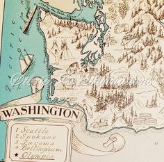 Washington State Vintage Map - Aqua - Cottage Chic - A Fun and Funky 1930s Picture Map of Washington to Frame.