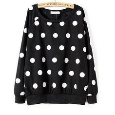 28,90EUR Sweatshirt Pullover schwarz mit weissen Punkten