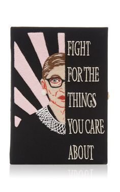 Exclusive to Moda Operandi, Olympia Le-Tan's latest clutch features a Ruth Bader Ginsburg motif to echo the important role women have played in politics and positions of power throughout history. Book Clutch, Ruth Bader Ginsburg, Olympia Le Tan, Felt Applique, Liberty Print, Embroidered Silk, Cool Designs, Classic, Books