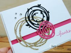 Swirly Scribbles Gold Glitter Note Card
