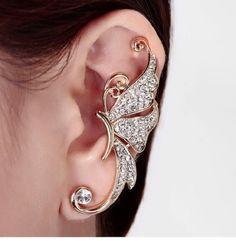 Populaire 1PC cristal plaqué argent gauche Leaf Ear Wrap Stud Clip Cuff Boucle d/'oreille