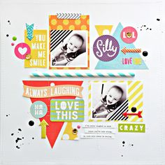 #papercraft #scrapbook #layout. My Bits of Sunshine: Mambi Die Cut Sticker Layout by Stephanie Buice.