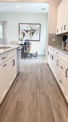 #WhiteKitchen #modernfarmhousekitchen Kitchen Room Design, Modern Kitchen Design, Kitchen Layout, Home Decor Kitchen, Interior Design Kitchen, Kitchen Ideas, Small Room Design Bedroom, Interior And Exterior, Master Bedroom