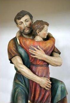 """San José y Jesús, que va creciendo """"en edad, gracia y sabiduría delante de Dios y de los hombres""""."""