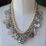 Rhinestone Buttons, Beads & Brooch Necklace with detachable vintage pearl strand necklace