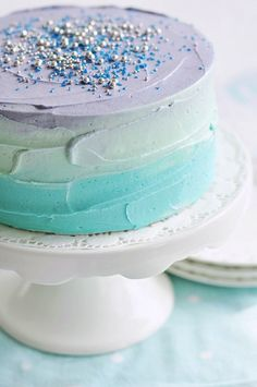 Frozen party recipe ideas: Pastel swirl ombre birthday cake via Sweetapolita