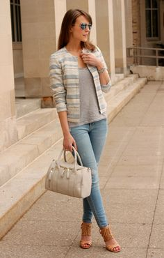 Spring Stripes| Penny Pincher Fashion : Ivory and blue textured jacket paired casually with light blue denim, a light grey tee, and strappy, heeled sandals