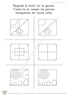 Dans les fiches de travail « Mémorisation partie manquante motif » l'élève doit compléter les lignes manquantes dans le design sur la droite, de mémoire.