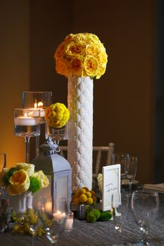 Tall Yellow Flower Centerpiece - Modern Yellow & Grey Waterfront Tampa Wedding - Carrie Wildes Photography