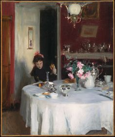 The Breakfast Table John Singer Sargent -- American painter  1884 Sargent at Harvard  Oil on canvas  21 1/4 x 17 3/4 in (Sight)  Framed 27 3/4 x 24 1/4 x 2 1/4 in